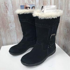 White Mountain sz 6.5 black suede faux fur boots
